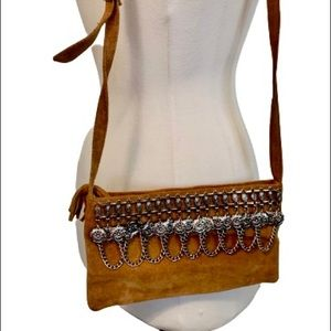 Suede Leather crossbody Southwestern Chain Detail